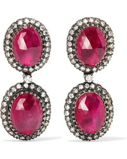 18-karat Gold, Sterling Silver, Ruby And Diamond Earrings