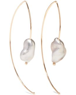 Open Marquis 14-karat Gold Pearl Earrings