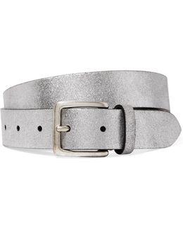 Metallic Textured-leather Belt