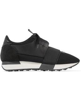 Race Runner Leather, Mesh And Neoprene Sneakers