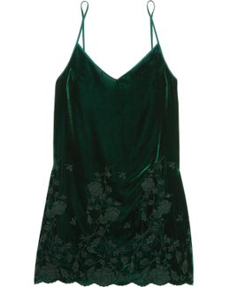 Nuits A Moscou Embroidered Velvet Chemise