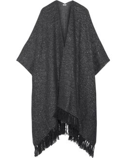 Fringed Metallic Knitted Cape