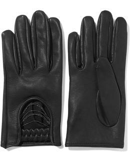 Embellished Leather Gloves