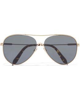 Loop Aviator-style Gold-tone Sunglasses