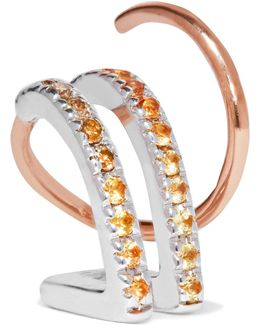 Bess 14-karat Rose Gold, Diamond And Sapphire Earring