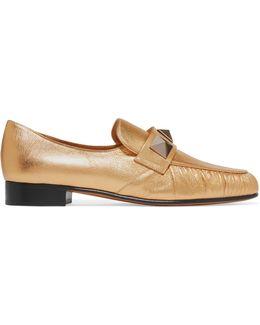 Rockstud Metallic Textured-leather Loafers