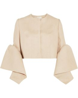 Cropped Woven Linen Jacket