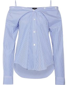 Tamalee Off-the-shoulder Striped Cotton-poplin Shirt