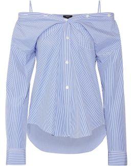Tamalee Off-the-shoulder Striped Cotton-poplin Shirt