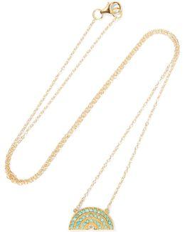 Rainbow 14-karat Gold, Turquoise And Diamond Necklace