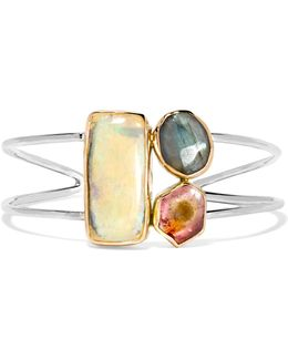 14-karat Gold And Sterling Silver Multi-stone Cuff