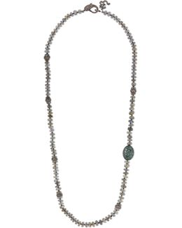 Oxidized Sterling Silver Multi-stone Necklace