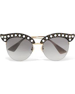 Embellished Cat-eye Acetate And Gold-tone Sunglasses