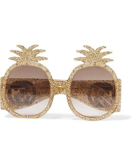 Round-frame Crystal-embellished Glittered Acetate Sunglasses
