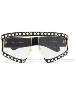 Embellished D-frame Acetate And Gold-tone Sunglasses