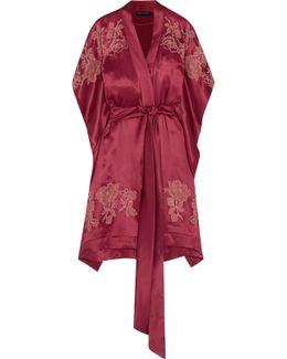 Chantilly Lace-appliquéd Silk-satin Robe