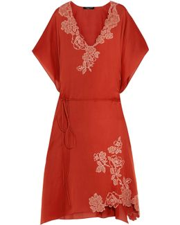 Lace-trimmed Silk-satin Robe