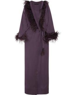 Feather-trimmed Silk-satin Robe