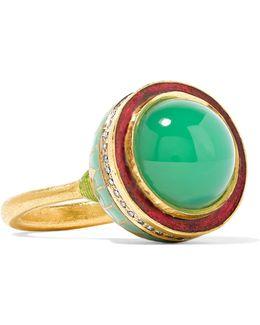 11-karat Gold, Enamel, Diamond And Chrysoprase Ring