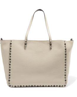 Rockstud Textured-leather Tote Bag