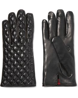 Studded Quilted Smooth And Glossed Textured-leather Gloves
