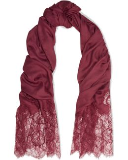 Lace-paneled Modal And Cashmere-blend Scarf