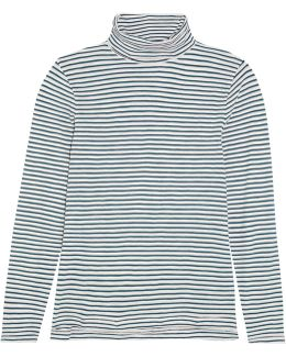Theo Striped Cotton-jersey Turtleneck Top