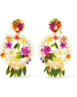 Fiesta Gold-plated Resin Clip Earrings