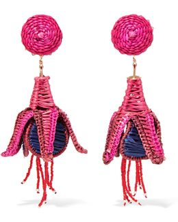 Tropicalia Beaded Straw Clip Earrings