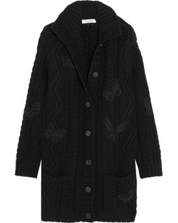 Embellished Cable-knit Wool Cardigan