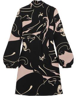 Panther Printed Silk-cady Mini Dress