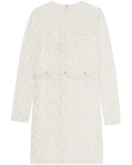 Crepe-trimmed Embellished Corded Lace Mini Dress