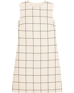 Checked Crepe Mini Dress