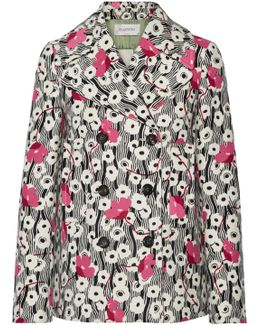 Double-breasted Floral-print Wool Jacket