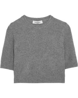 Cropped Ribbed Cashmere Sweater