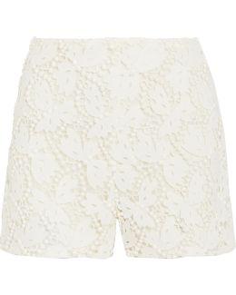 Cotton-blend Guipure Lace Shorts
