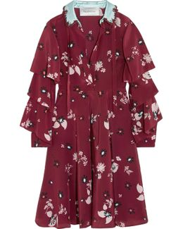 Ruffled Floral-print Silk Crepe De Chine Dress