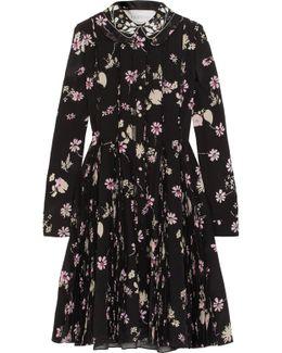 Embellished Floral-print Silk Crepe De Chine Dress