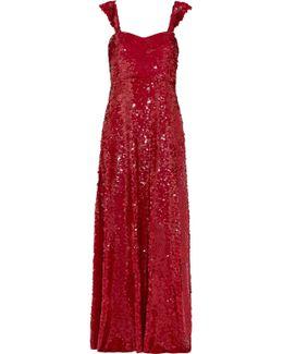 Paillette-embellished Silk-georgette Gown