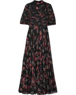 Embellished Lace-trimmed Floral-print Silk Crepe De Chine Gown