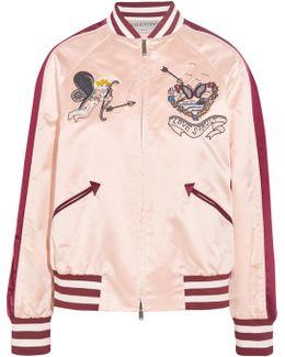 Embellished Silk-satin Bomber Jacket