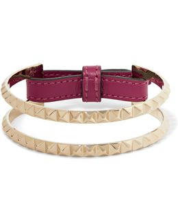 Lovestud Gold-tone And Leather Bracelet