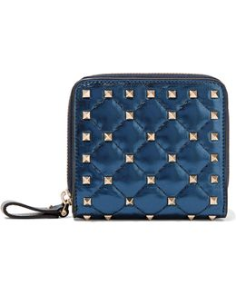 The Rockstud Quilted Metallic Leather Wallet