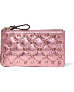 The Rockstud Spike Metallic Quilted Leather Pouch