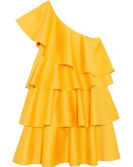 One-shoulder Ruffled Crepe Mini Dress