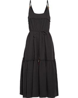 Embellished Cotton-seersucker Midi Dress