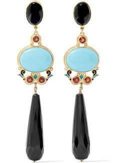 Gold-tone, Enamel And Multi-stone Earrings