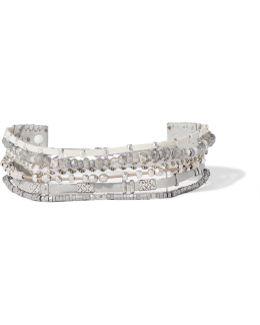 Silver-tone Multi-stone Wrap Bracelet
