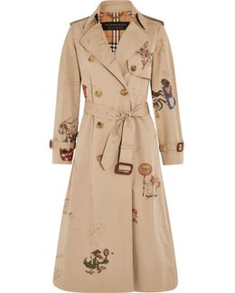 Printed Cotton-gabardine Trench Coat