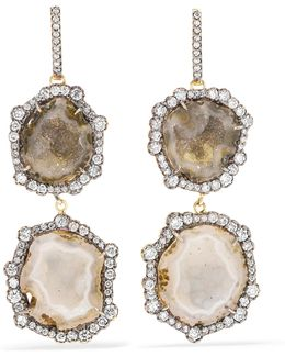 18-karat Blackened Gold, Geode And Diamond Earrings